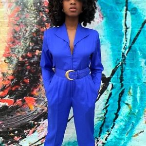 Vintage caped jumpsuit with matching belt